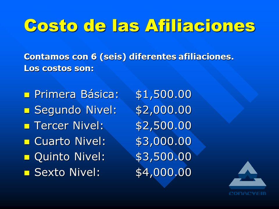 Costo de las Afiliaciones Contamos con 6 (seis) diferentes afiliaciones.