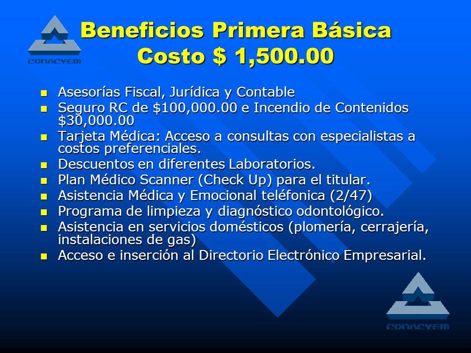Beneficios Primera Básica Costo $ 1,500.00 Asesorías Fiscal, Jurídica y Contable Asesorías Fiscal, Jurídica y Contable Seguro RC de $100,000.00 e Incendio de Contenidos $30,000.00 Seguro RC de $100,000.00 e Incendio de Contenidos $30,000.00 Tarjeta Médica: Acceso a consultas con especialistas a costos preferenciales.