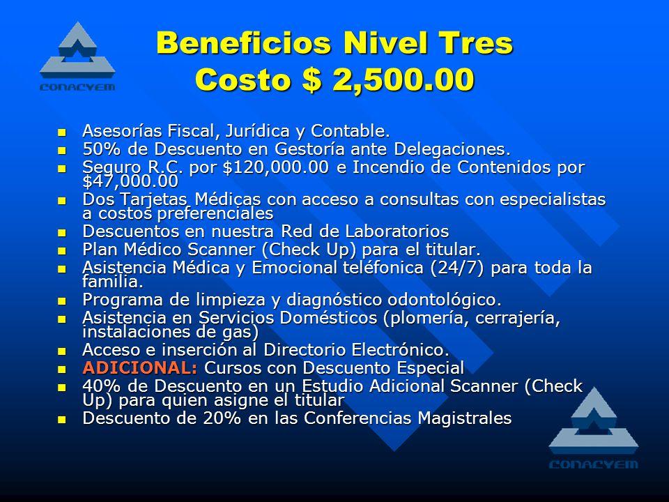 Beneficios Nivel Tres Costo $ 2,500.00 Asesorías Fiscal, Jurídica y Contable.