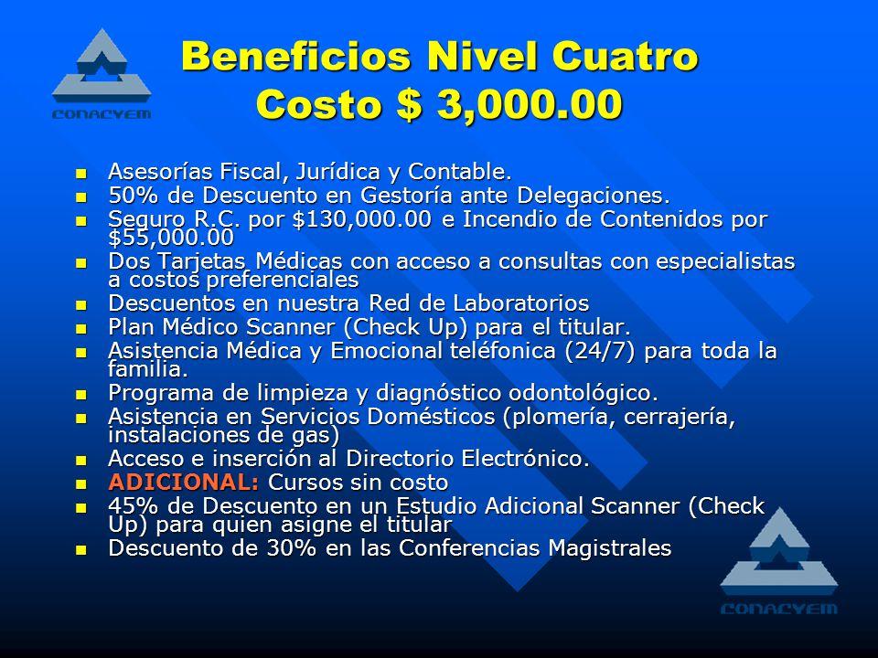 Beneficios Nivel Cuatro Costo $ 3,000.00 Asesorías Fiscal, Jurídica y Contable.