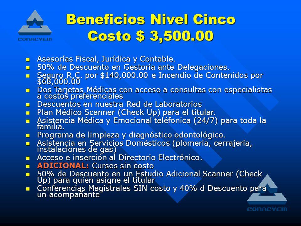 Beneficios Nivel Cinco Costo $ 3,500.00 Asesorías Fiscal, Jurídica y Contable.