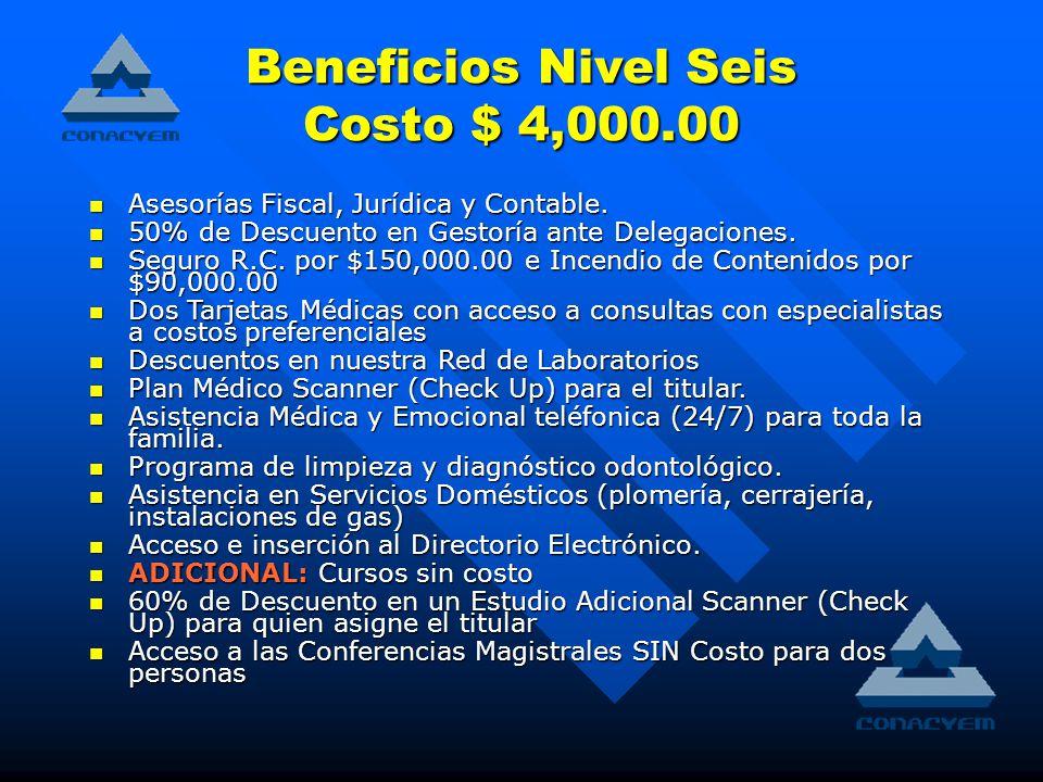 Beneficios Nivel Seis Costo $ 4,000.00 Asesorías Fiscal, Jurídica y Contable.