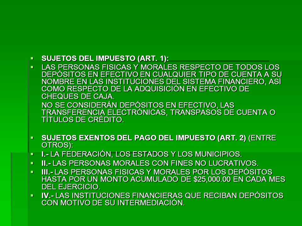 SUJETOS DEL IMPUESTO (ART.1): SUJETOS DEL IMPUESTO (ART.