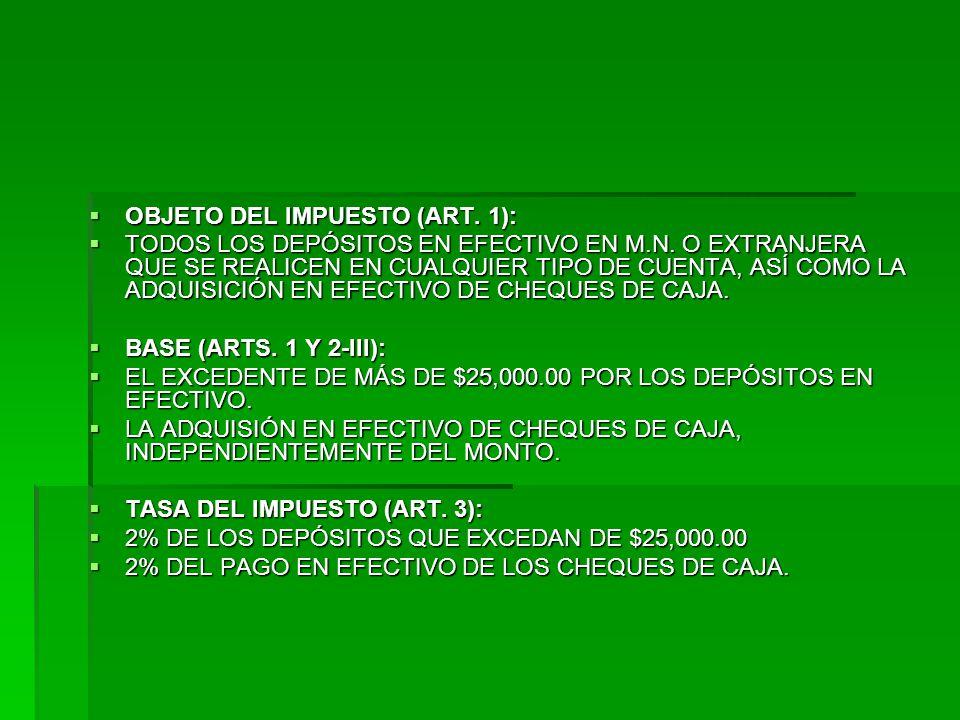 OBJETO DEL IMPUESTO (ART. 1): OBJETO DEL IMPUESTO (ART.