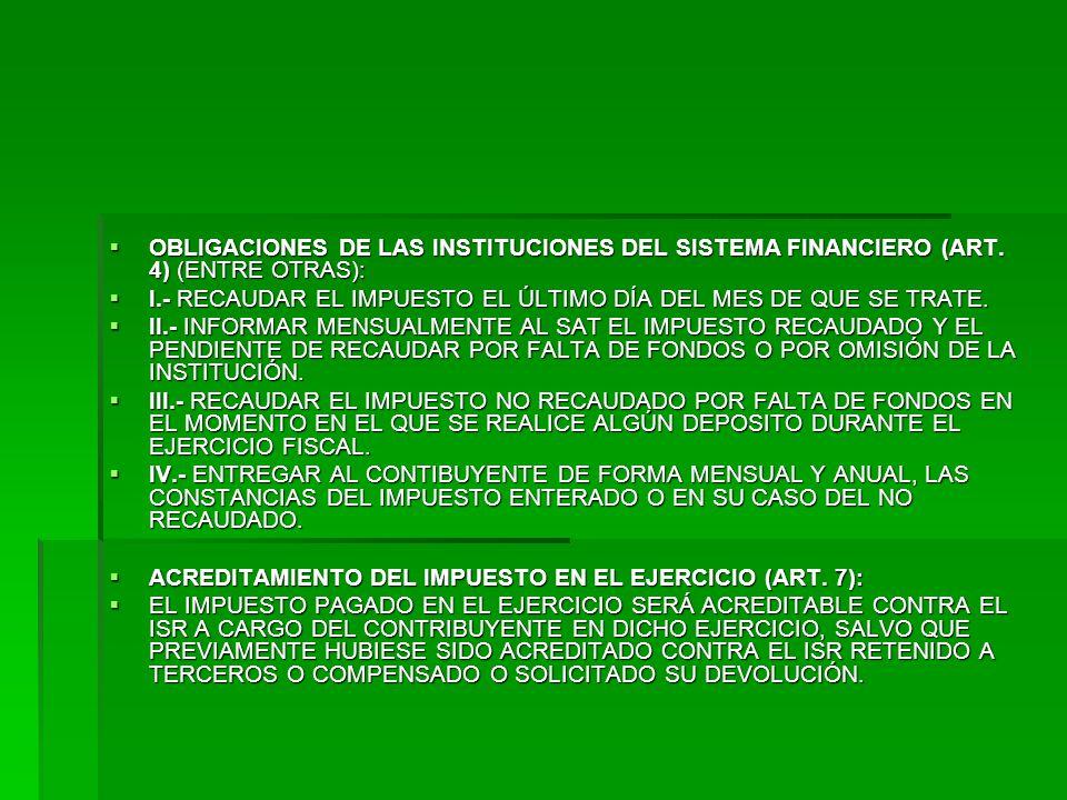 OBLIGACIONES DE LAS INSTITUCIONES DEL SISTEMA FINANCIERO (ART.