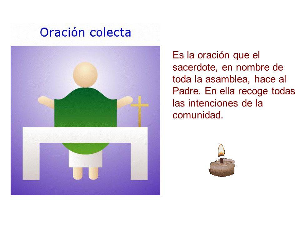Es la oración que el sacerdote, en nombre de toda la asamblea, hace al Padre. En ella recoge todas las intenciones de la comunidad.