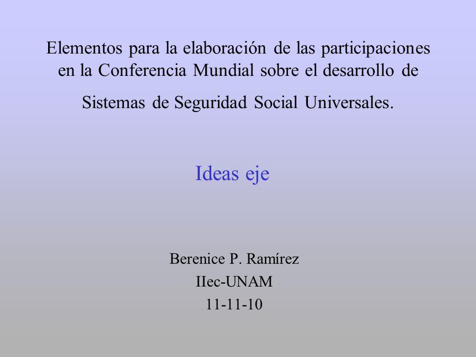 Elementos para la elaboración de las participaciones en la Conferencia Mundial sobre el desarrollo de Sistemas de Seguridad Social Universales. Bereni