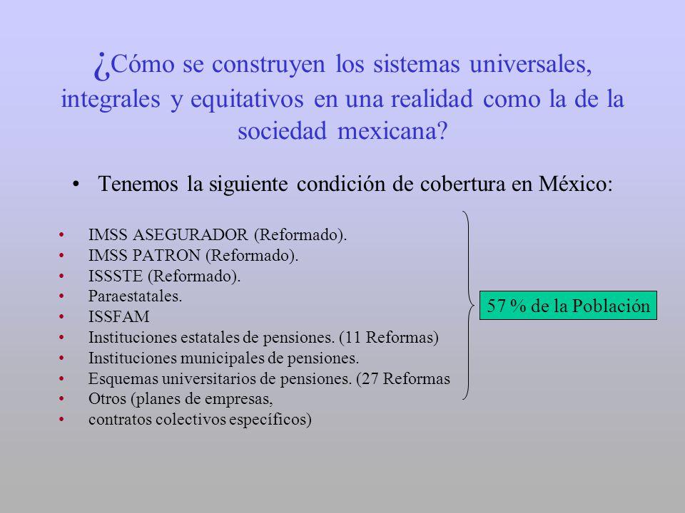 ¿ Cómo se construyen los sistemas universales, integrales y equitativos en una realidad como la de la sociedad mexicana? Tenemos la siguiente condició