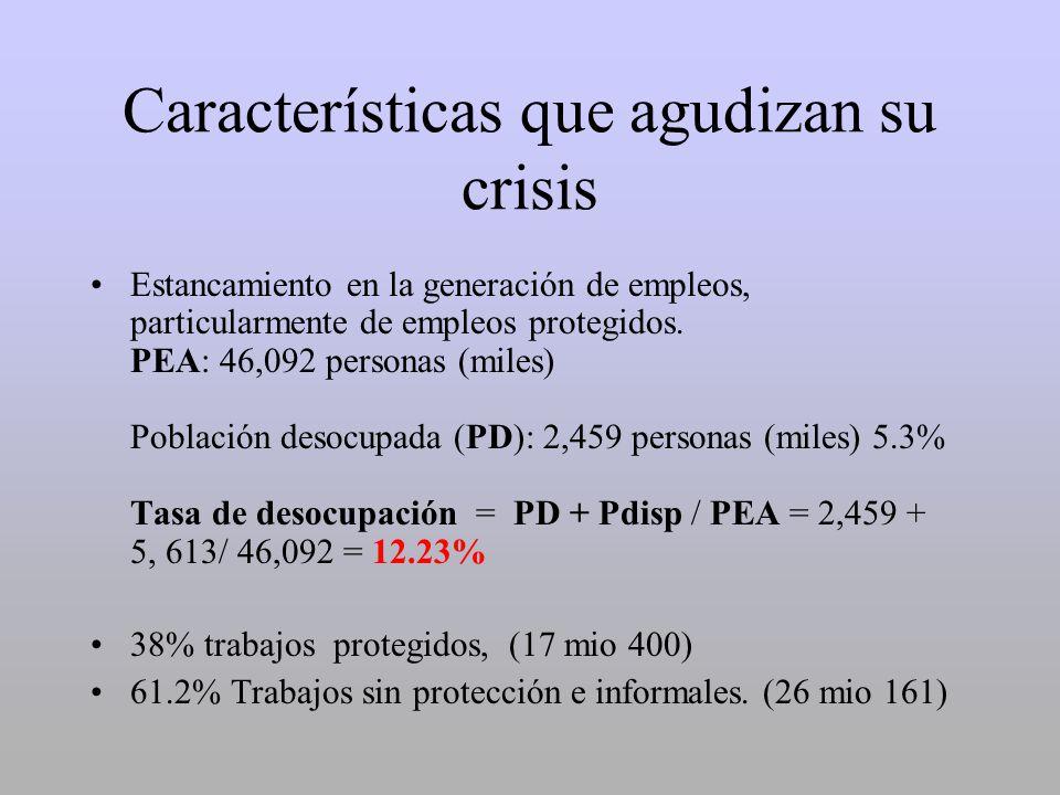 Características que agudizan su crisis Estancamiento en la generación de empleos, particularmente de empleos protegidos. PEA: 46,092 personas (miles)