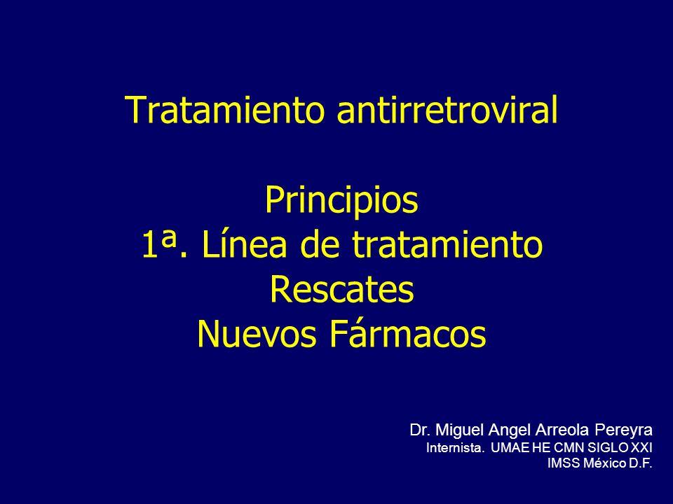 Tratamiento antirretroviral Principios 1ª. Línea de tratamiento Rescates Nuevos Fármacos Dr. Miguel Angel Arreola Pereyra Internista. UMAE HE CMN SIGL