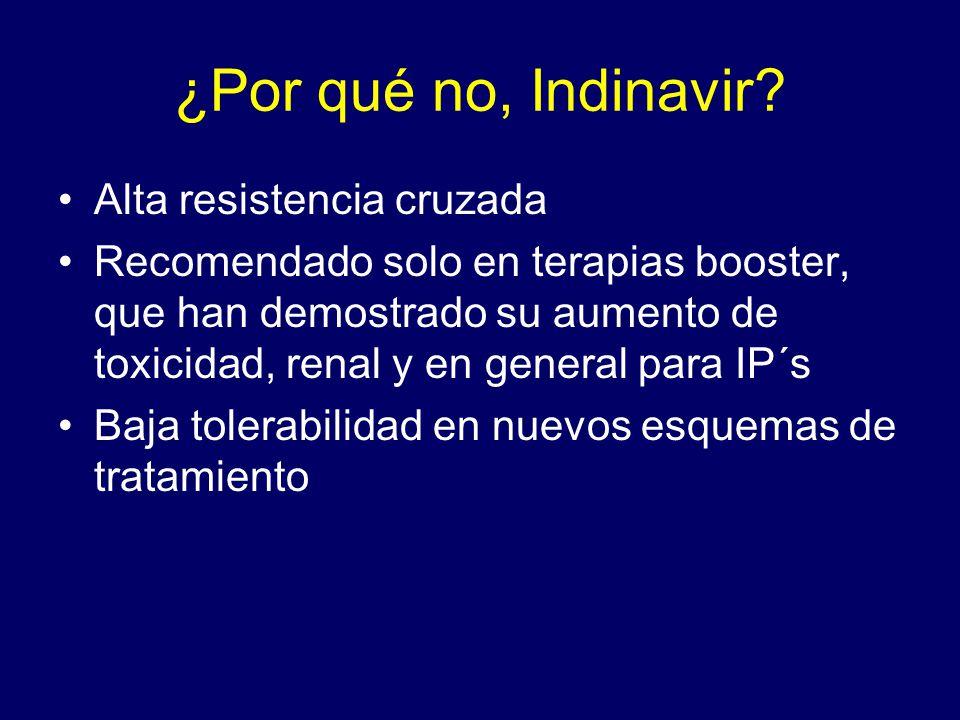 ¿Por qué no, Indinavir? Alta resistencia cruzada Recomendado solo en terapias booster, que han demostrado su aumento de toxicidad, renal y en general