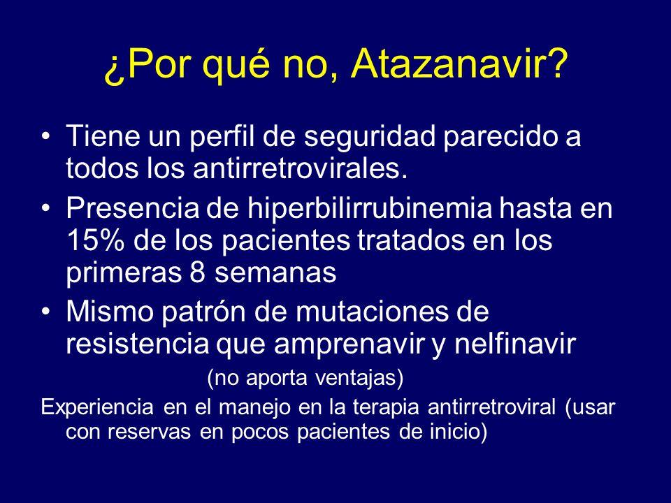 ¿Por qué no, Atazanavir? Tiene un perfil de seguridad parecido a todos los antirretrovirales. Presencia de hiperbilirrubinemia hasta en 15% de los pac