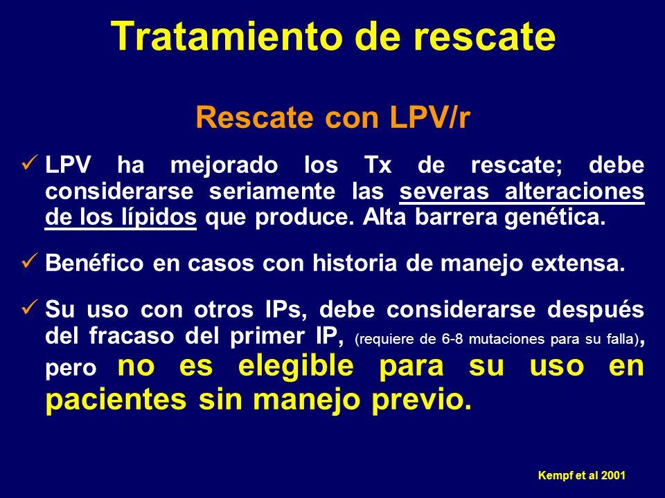 Rescate con LPV/r LPV ha mejorado los Tx de rescate; debe considerarse seriamente las severas alteraciones de los lípidos que produce. Alta barrera ge