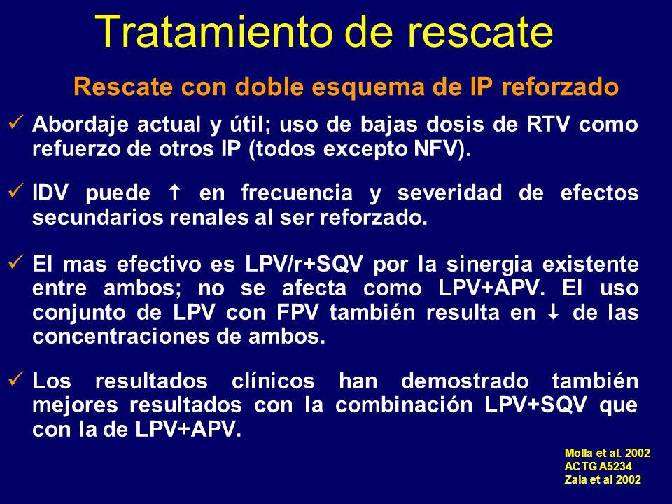 Abordaje actual y útil; uso de bajas dosis de RTV como refuerzo de otros IP (todos excepto NFV). IDV puede en frecuencia y severidad de efectos secund