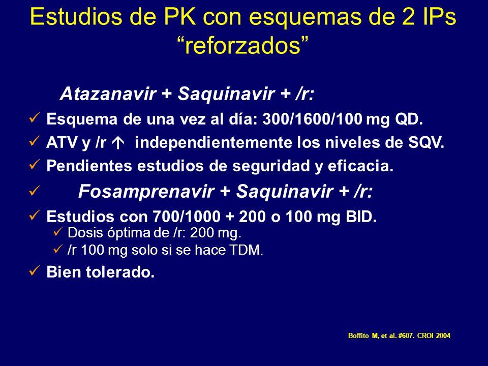 Estudios de PK con esquemas de 2 IPs reforzados Atazanavir + Saquinavir + /r: Esquema de una vez al día: 300/1600/100 mg QD. ATV y /r independientemen