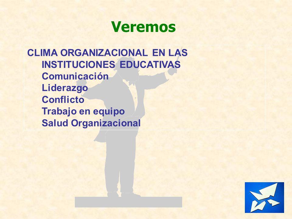 Veremos CLIMA ORGANIZACIONAL EN LAS INSTITUCIONES EDUCATIVAS Comunicación Liderazgo Conflicto Trabajo en equipo Salud Organizacional