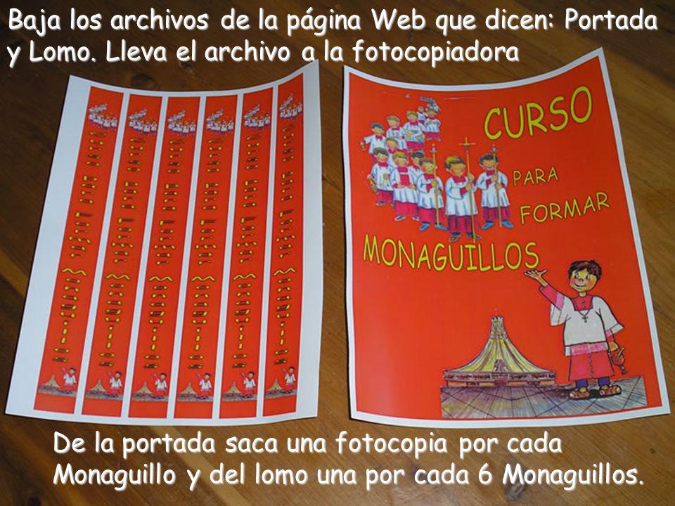 Baja los archivos de la página Web que dicen: Portada y Lomo.