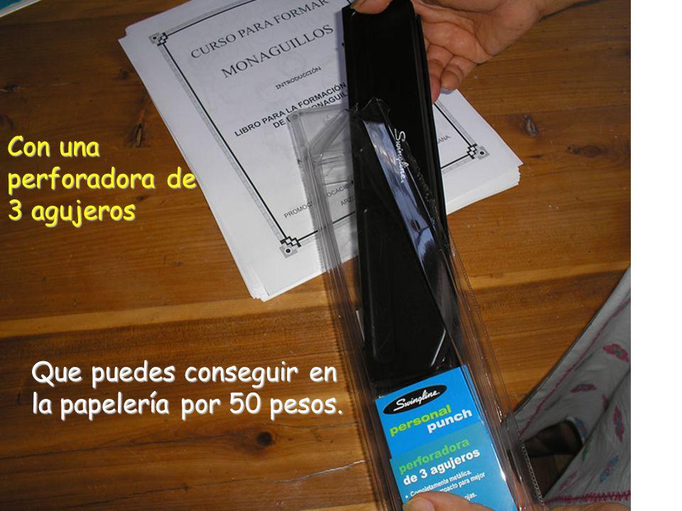 Con una perforadora de 3 agujeros Que puedes conseguir en la papelería por 50 pesos.