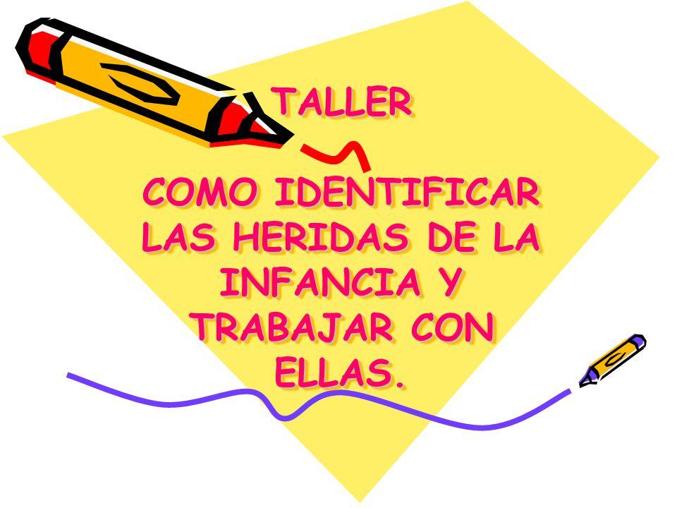 TALLER COMO IDENTIFICAR LAS HERIDAS DE LA INFANCIA Y TRABAJAR CON ELLAS.