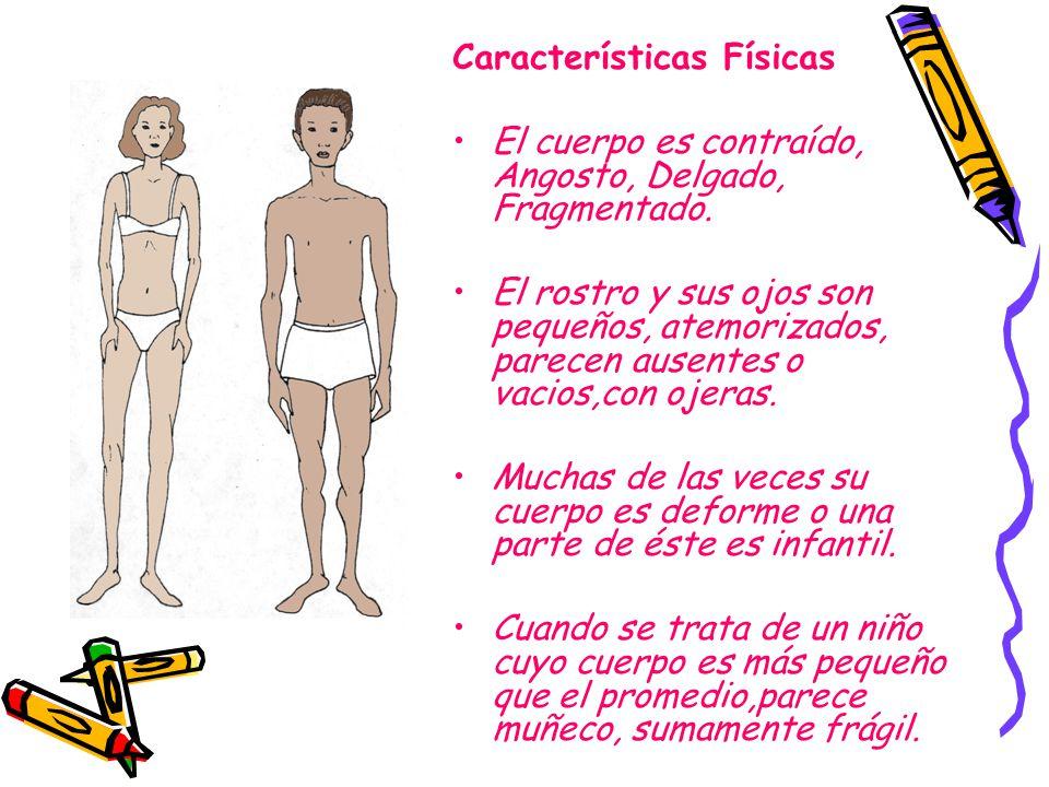 Características Físicas El cuerpo es contraído, Angosto, Delgado, Fragmentado. El rostro y sus ojos son pequeños, atemorizados, parecen ausentes o vac