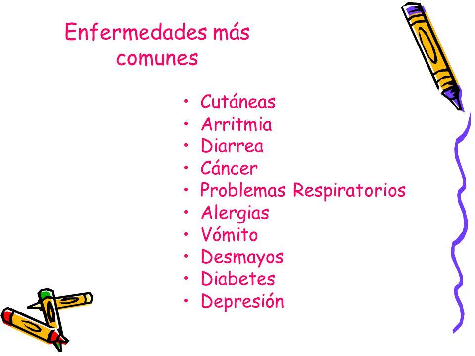 Enfermedades más comunes Cutáneas Arritmia Diarrea Cáncer Problemas Respiratorios Alergias Vómito Desmayos Diabetes Depresión