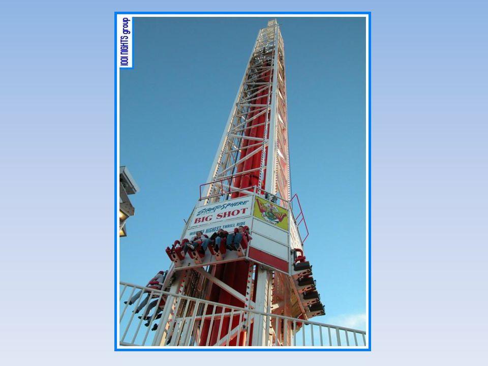 ¡Una segunda diversión es un ascensor, que sube hasta el límite superior y después desciende, haciendo que las personas sientan el efecto de hasta cuatro veces la fuerza gravitacional!