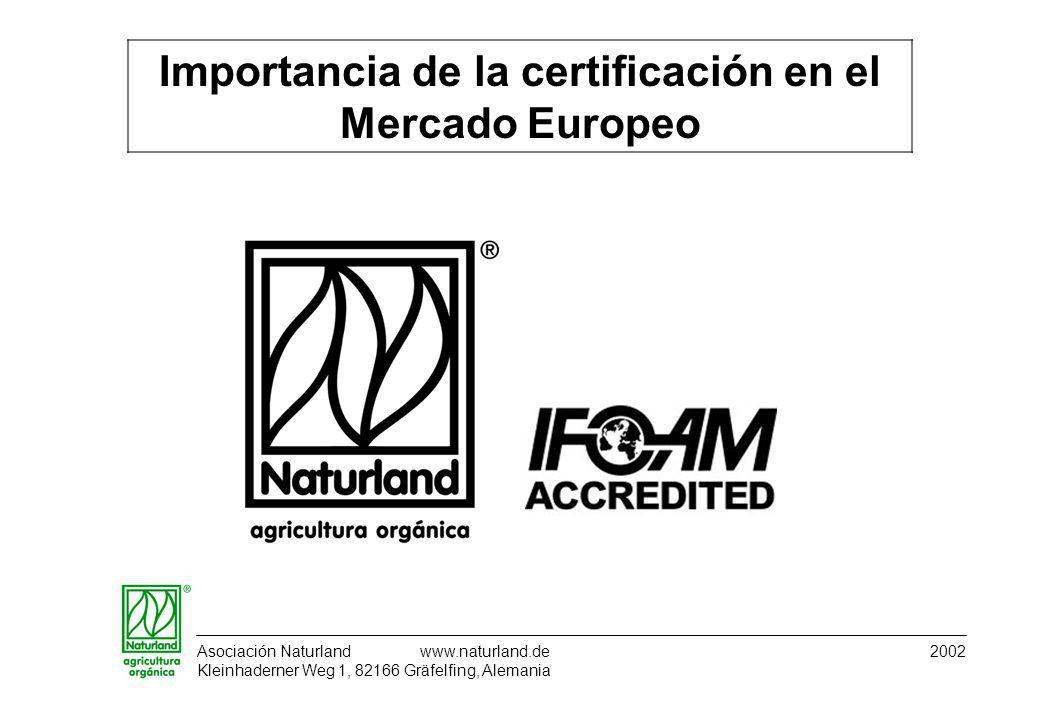Asociación Naturland www.naturland.de 2002 Kleinhaderner Weg 1, 82166 Gräfelfing, Alemania Importancia de la certificación en el Mercado Europeo