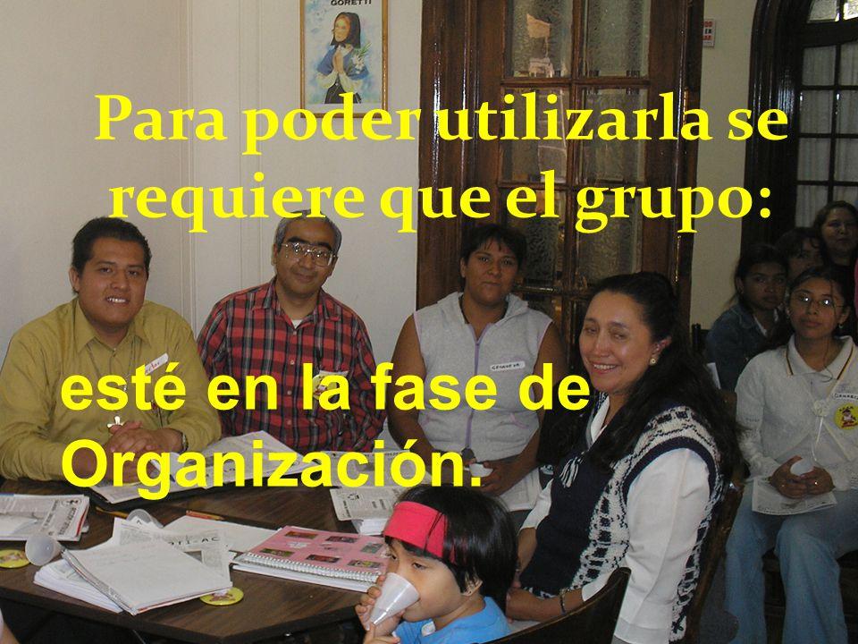 Para poder utilizarla se requiere que el grupo: esté en la fase de Organización.