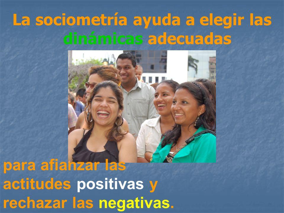 La sociometría ayuda a elegir las dinámicas adecuadas para afianzar las actitudes positivas y rechazar las negativas.