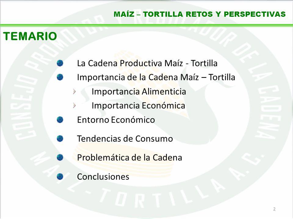 05/06/20142 MAÍZ – TORTILLA RETOS Y PERSPECTIVAS TEMARIO La Cadena Productiva Maíz - Tortilla Importancia de la Cadena Maíz – Tortilla Importancia Ali