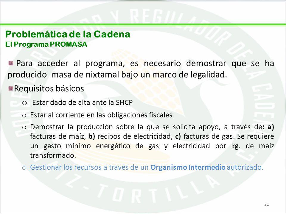 05/06/201421 Problemática de la Cadena El Programa PROMASA Para acceder al programa, es necesario demostrar que se ha producido masa de nixtamal bajo