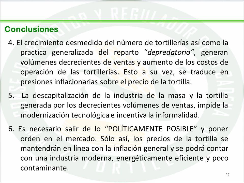 05/06/201427 Conclusiones 4. El crecimiento desmedido del número de tortillerías así como la practica generalizada del reparto depredatorio, generan v