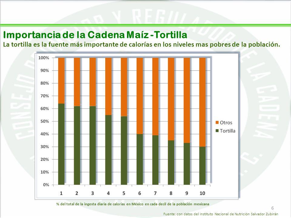 05/06/20146 Importancia de la Cadena Maíz -Tortilla 6 La tortilla es la fuente más importante de calorías en los niveles mas pobres de la población. %