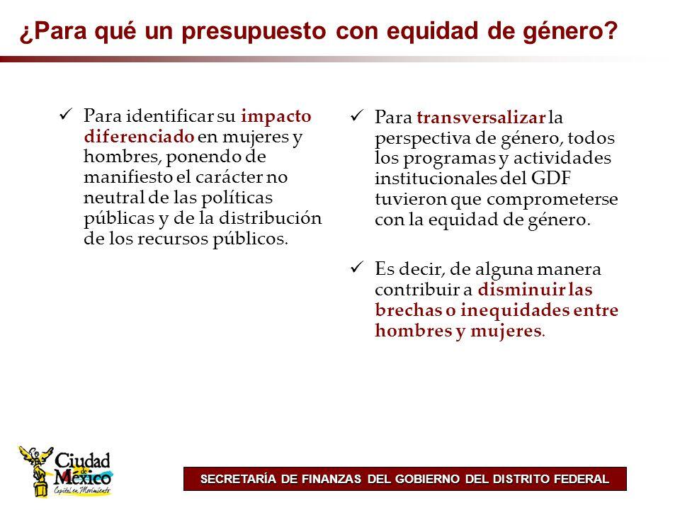 SECRETARÍA DE FINANZAS DEL GOBIERNO DEL DISTRITO FEDERAL ¿Para qué un presupuesto con equidad de género? Para identificar su impacto diferenciado en m
