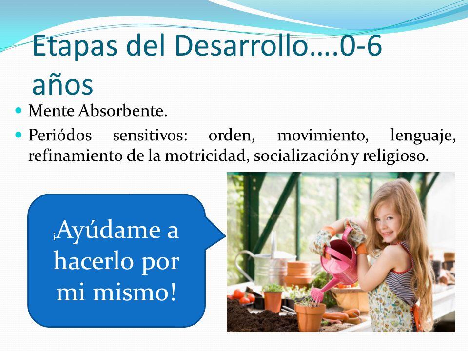 Etapas del Desarrollo….0-6 años Mente Absorbente. Periódos sensitivos: orden, movimiento, lenguaje, refinamiento de la motricidad, socialización y rel