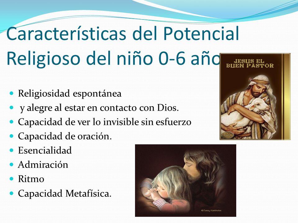 Características del Potencial Religioso del niño 0-6 años. Religiosidad espontánea y alegre al estar en contacto con Dios. Capacidad de ver lo invisib