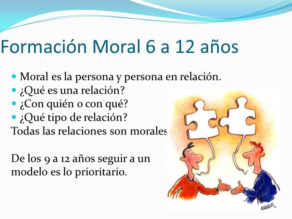 Formación Moral 6 a 12 años Moral es la persona y persona en relación. ¿Qué es una relación? ¿Con quién o con qué? ¿Qué tipo de relación? Todas las re