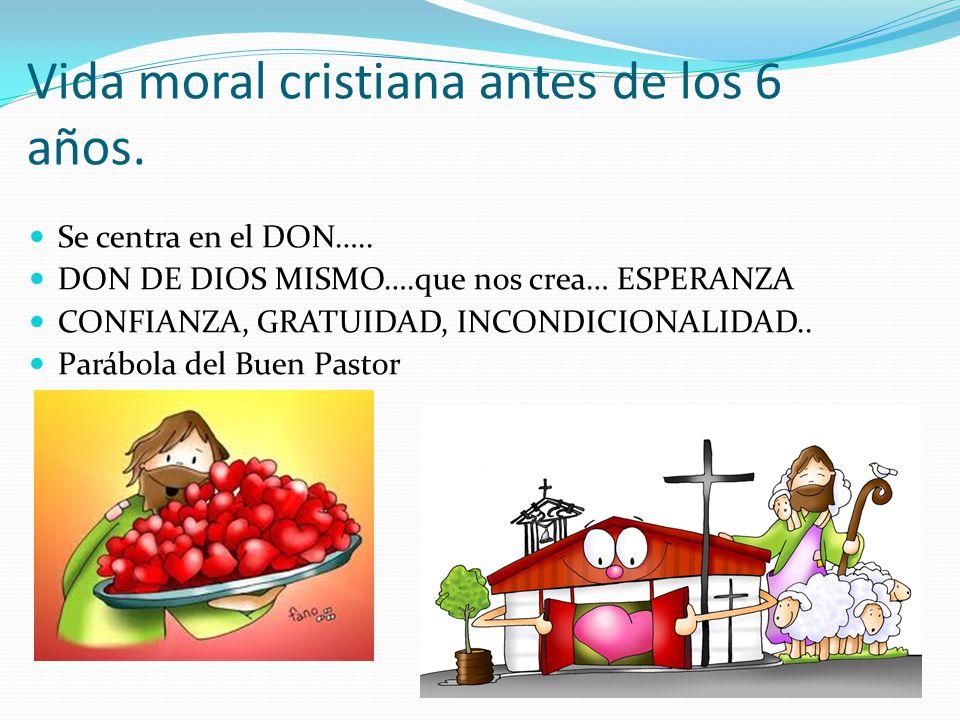 Vida moral cristiana antes de los 6 años. Se centra en el DON….. DON DE DIOS MISMO….que nos crea… ESPERANZA CONFIANZA, GRATUIDAD, INCONDICIONALIDAD..