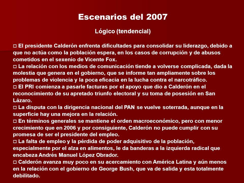 Lógico (tendencial) El presidente Calderón enfrenta dificultades para consolidar su liderazgo, debido a que no actúa como la población espera, en los casos de corrupción y de abusos cometidos en el sexenio de Vicente Fox.