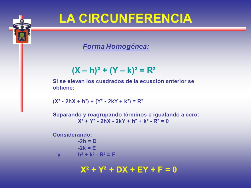 LA CIRCUNFERENCIA Forma Homogénea: Si se elevan los cuadrados de la ecuación anterior se obtiene: (X² - 2hX + h²) + (Y² - 2kY + k²) = R² Separando y r