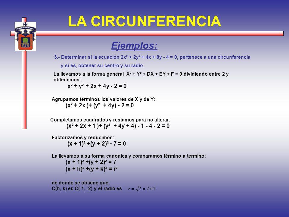 LA CIRCUNFERENCIA 3.- Determinar si la ecuación 2x² + 2y² + 4x + 8y - 4 = 0, pertenece a una circunferencia y si es, obtener su centro y su radio. Eje
