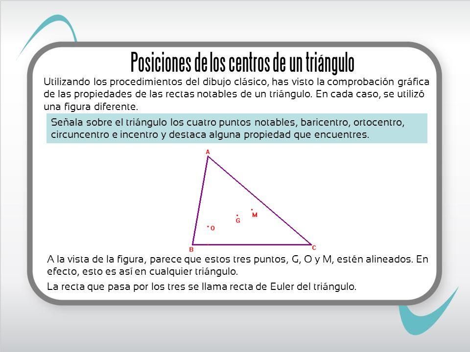 A la vista de la figura, parece que estos tres puntos, G, O y M, estén alineados. En efecto, esto es así en cualquier triángulo. La recta que pasa por