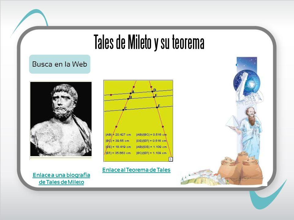 Tales de Mileto y su teorema Busca en la Web Enlace a una biografía de Tales de Mileto Enlace al Teorema de Tales