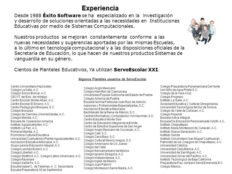 Éxito Software Desde 1988 Éxito Software se ha especializado en la investigación y desarrollo de soluciones orientadas a las necesidades en Institucio