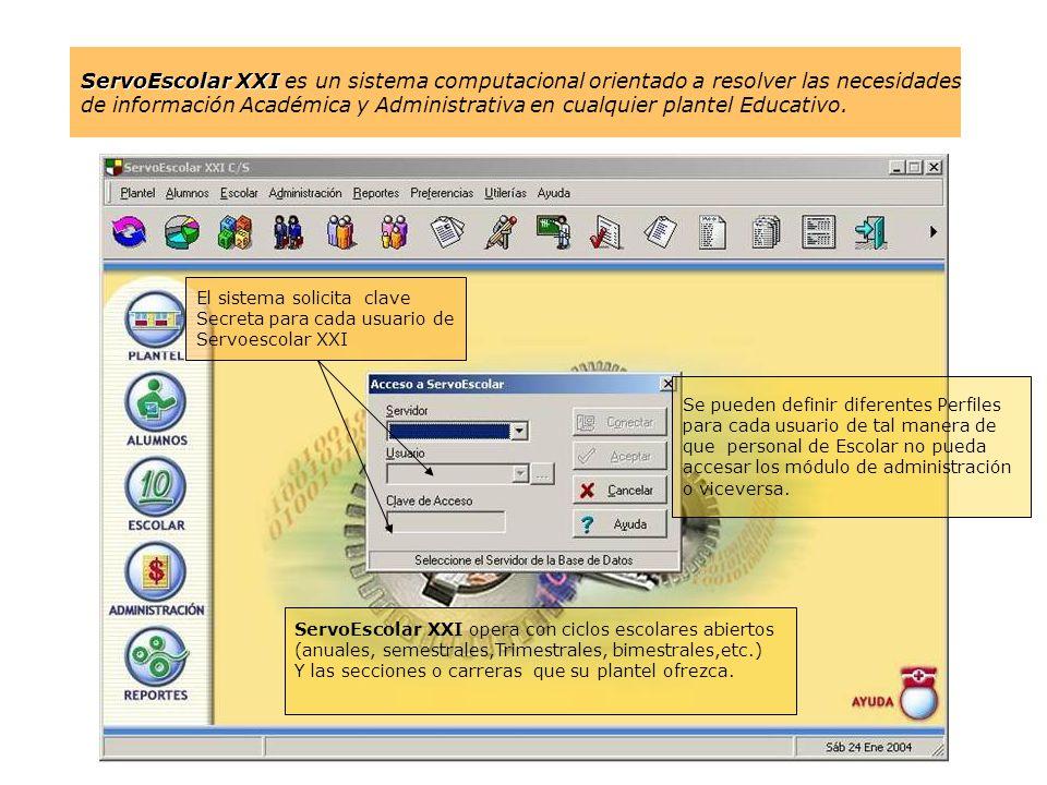 El sistema solicita clave Secreta para cada usuario de Servoescolar XXI Se pueden definir diferentes Perfiles para cada usuario de tal manera de que p