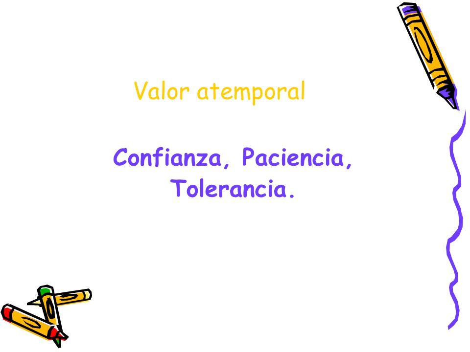 Valor atemporal Confianza, Paciencia, Tolerancia.