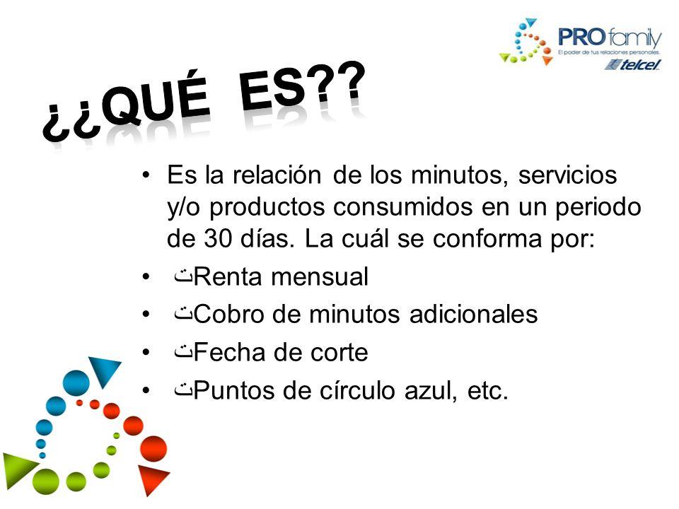 Es la relación de los minutos, servicios y/o productos consumidos en un periodo de 30 días.