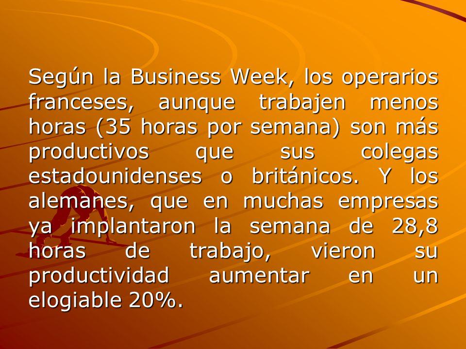 Según la Business Week, los operarios franceses, aunque trabajen menos horas (35 horas por semana) son más productivos que sus colegas estadounidenses