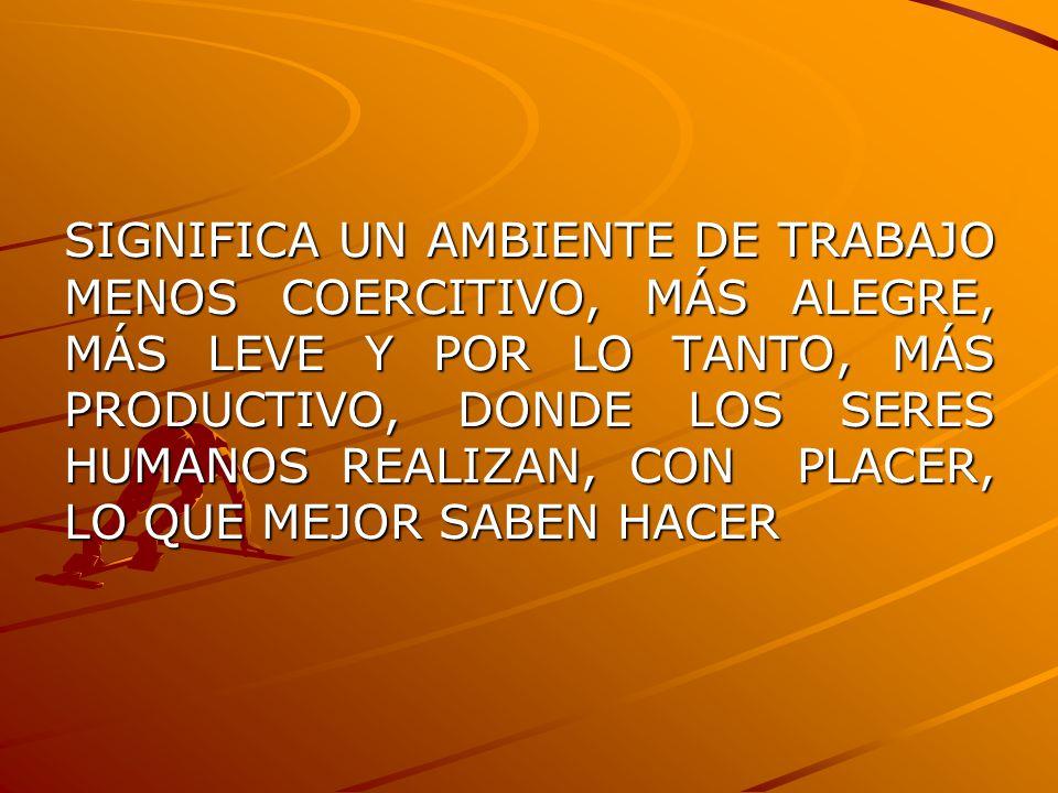 SIGNIFICA UN AMBIENTE DE TRABAJO MENOS COERCITIVO, MÁS ALEGRE, MÁS LEVE Y POR LO TANTO, MÁS PRODUCTIVO, DONDE LOS SERES HUMANOS REALIZAN, CON PLACER,