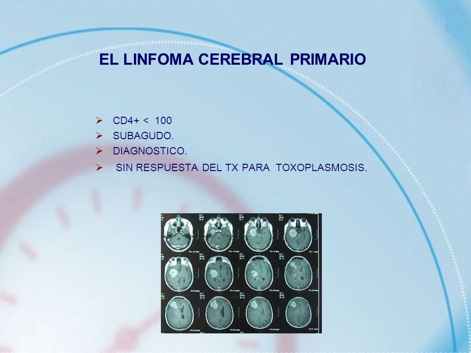 CD4+ < 100 SUBAGUDO. DIAGNOSTICO. SIN RESPUESTA DEL TX PARA TOXOPLASMOSIS. EL LINFOMA CEREBRAL PRIMARIO